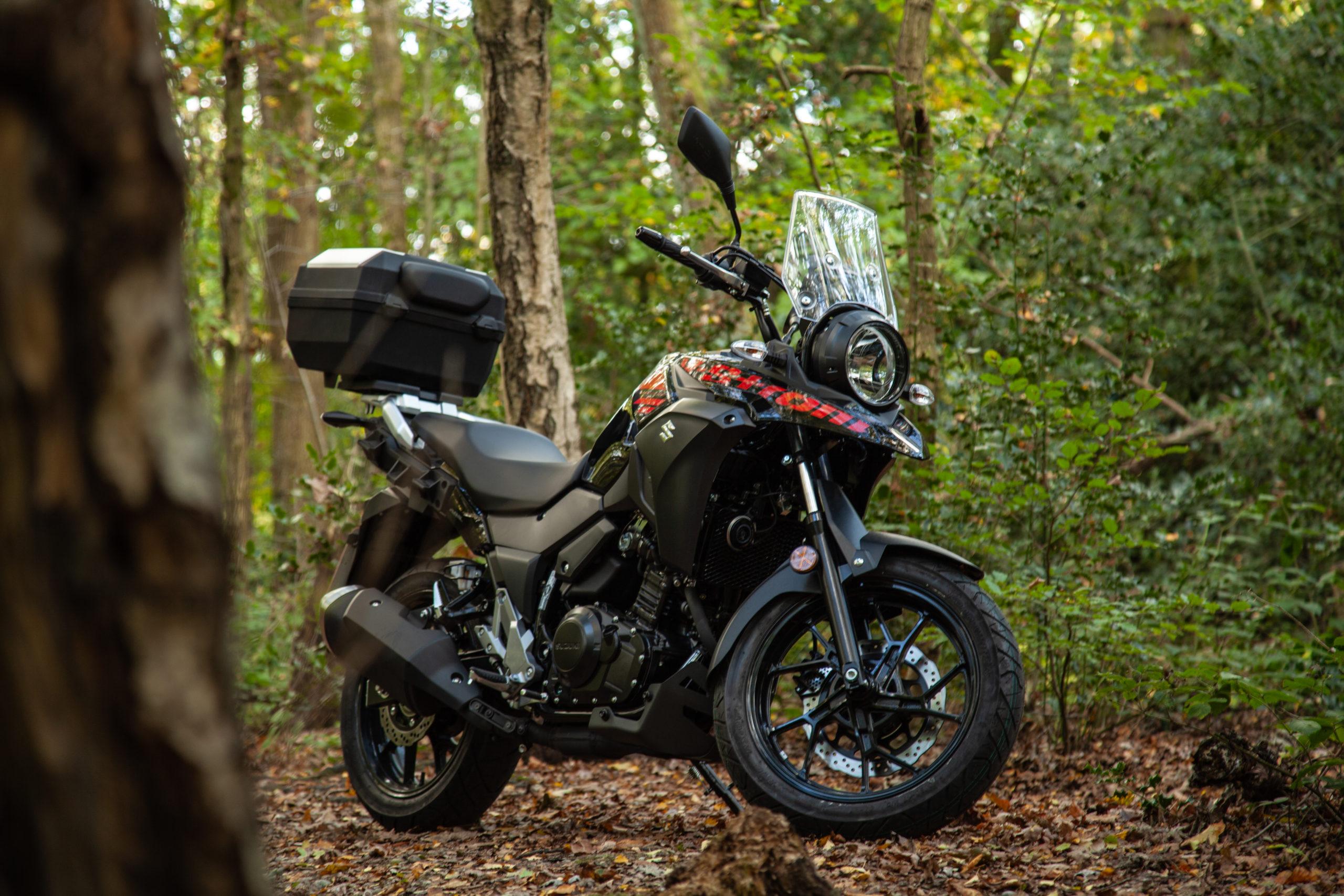 Suzuki dl250 off roading in the woods 2
