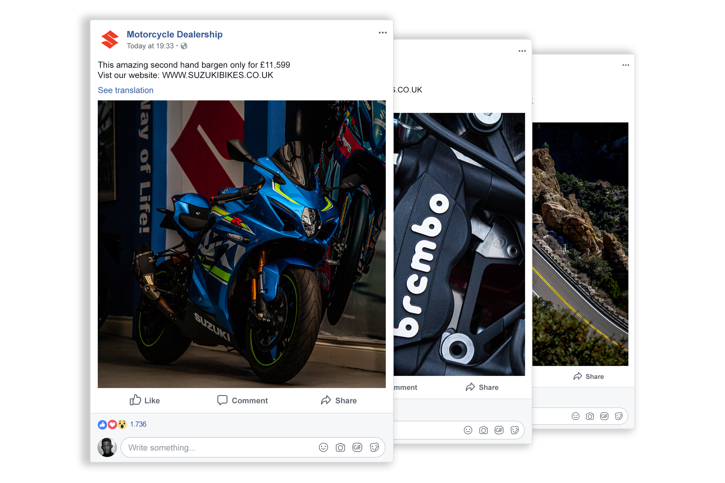 3 facebook post examples transparent background