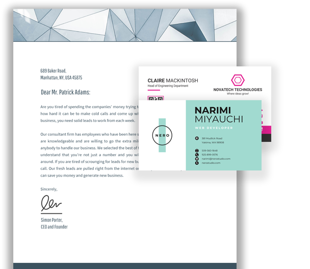 letterhead with two business cards