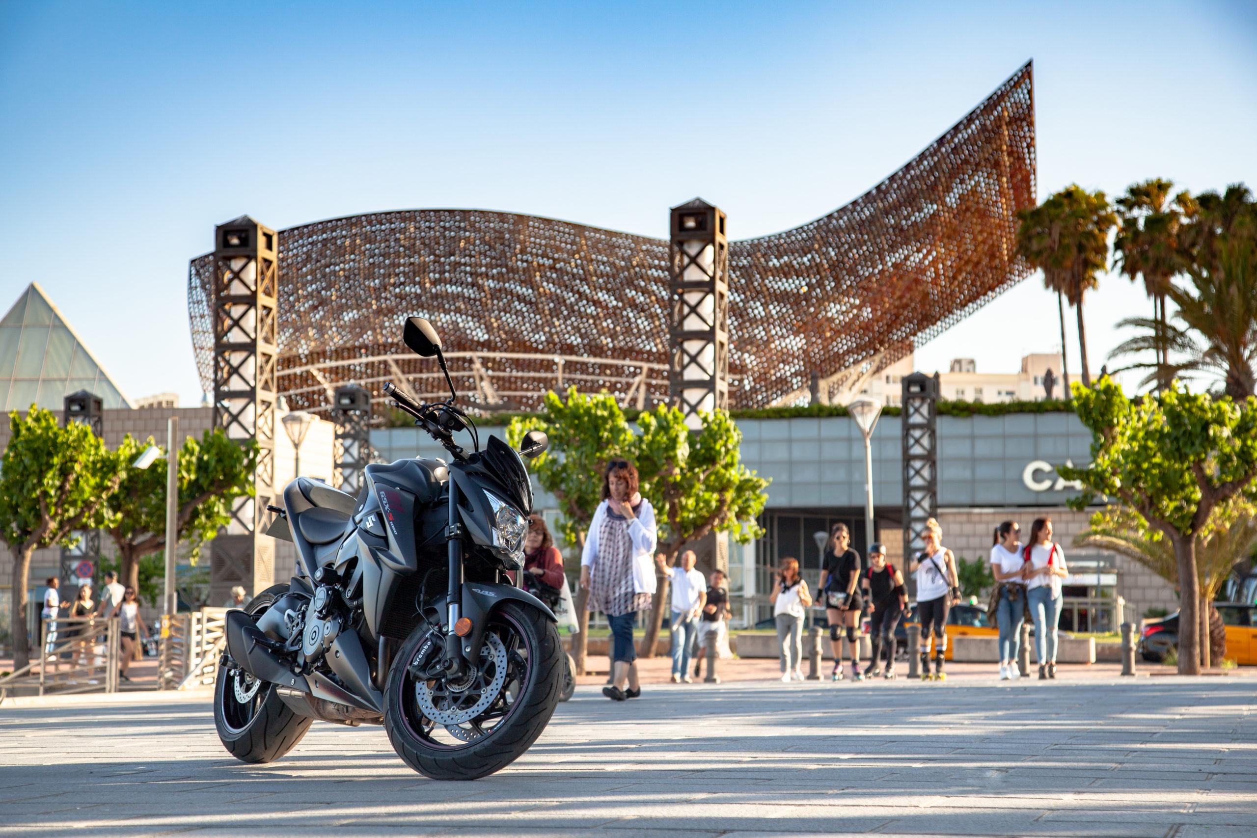 motorcycle on plaza
