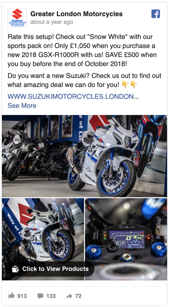 social media marketing for my dealership screenshot example